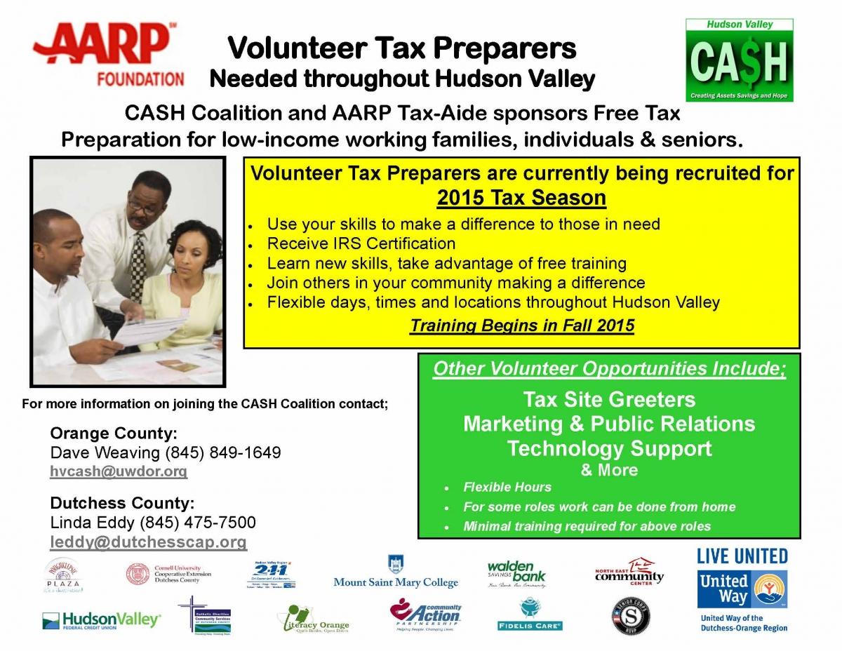 hudson valley ca$h coalition seeks volunteer tax preparers. free